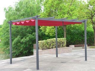 AlEKO Aluminum Outdoor Retractable Canopy Pergola   13 x 10 Ft   Burgundy Color