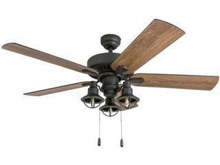 Prominence Home 50756 35 Ennora Farmhouse 52 Inch Aged Bronze Indoor Ceiling Fan  lantern lED Multi Arm Barnwood Tumbleweed Blades and 3 speed remote