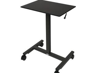 24 5  Airlift Pneumatic Adjustable Height Sit and Stand Mobile laptop Computer Desk Cart Black   Seville Classics