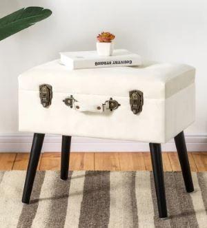 Carson Carrington Kammarbo Velvet Upholstered Storage Stool  Retail 84 49