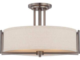 Gemini Bronze and Khaki Fabric Shade 3 light Semi Flush Fixture Retail 187 99