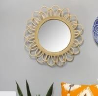 The Curated Nomad 18 25 inch Sunburst Rattan Wall Mirror
