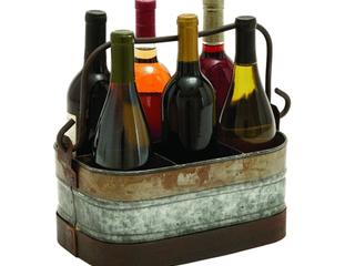 Farmhouse 12 x 14 Inch Metal 6 Bottle Wine Caddy by Studio 350