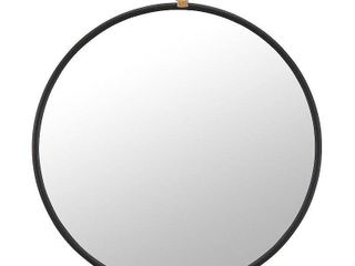 FirsTime   Co  Marshall Black Round Mirror  American Crafted  Satin Black  Mirror  32 5 x 1 x 36 in   32 5 x 1 x 36 in  Retail 123 49