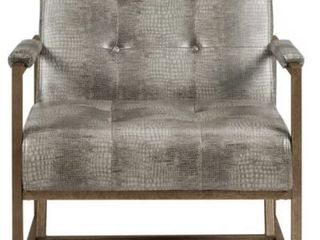 Strick   Bolton Normani Grey Faux leather Metal Frame lounge Chair  Retail 309 49