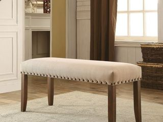 Furniture of America Serg Rustic Ivory Flax Fabric Padded Bench Retail 153 99