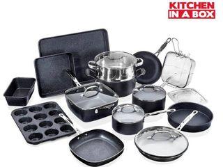 Granite Stone 20 Piece Non Stick Cookware Set  Granite Coated  PFOA Free  Oven Safe  Dishwasher Safe