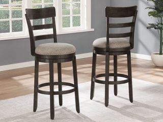 Kessel Brown Brushed Wood Swivel Barstools  Set of 2  Retail 231 49