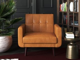 Better Homes   Gardens Nola Modern Chair with Arms  Camel Faux leather