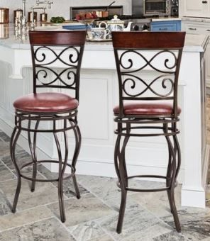 Copper Grove Esperance Swiveling Vintage Bar Chairs with Padded Seats  Set of 2  Retail 156 99 Same Pair as  38412