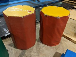 2  Red Yellow Medium Size Octagon Barrels
