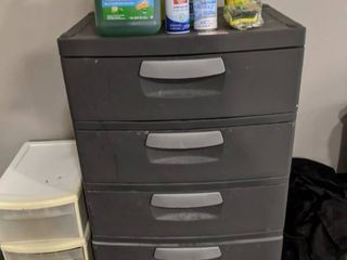 Two Cabinets And Cleaning Supplies