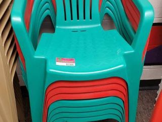 8  Green and Red Plastic Chairs