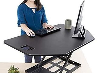 Stand Steady X Elite Pro Corner Standing Desk   40 Inch Corner Sit to Stand Desk Converter Ideal for Cubicles and l Shaped Desks  Easy Height Adjustable and Fully Assembled