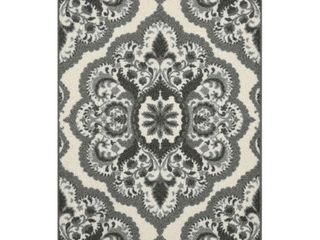 Maples Rugs Vivian Medallion Kitchen Rugs Non Skid Accent Area Carpet  Made in USA  2 6 x 3 10  Grey Set of 2  runner an rug