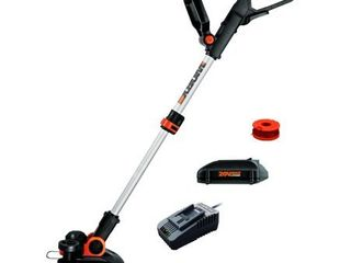 Worx 12 in  20 Volt Max lithium Ion Cordless Grass Trimmer Edger with 1 Battery and 1 2Amp Charger  APPEARS USED
