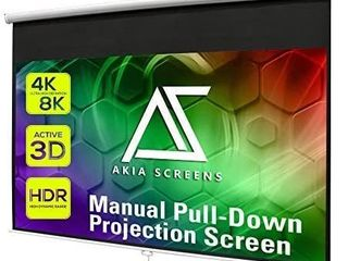 Akia Screens 100 inch Pull Down Projector Screen Manual B 16 9 8K 4K HD 3D Ceiling Wall Mount White Portable Projection Screen Retractable Auto locking for Indoor Movie Home Theater Office AK M100H1