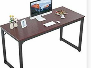 Foxemart 55 Computer Desk Modern Sturdy Office Desk 55 Inch PC laptop Notebook Study Writing Table for Home Office Workstation FINISH ON BOTTOM IS WORN