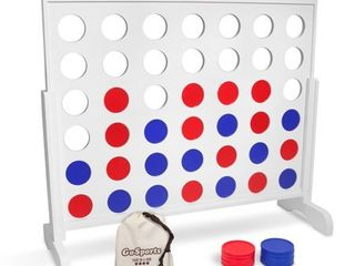 GoSports Giant 4 in a Row Game with Carrying Case   4 foot Width   Made from Wood