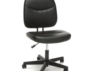 OFM Essentials Collection Armless leather Desk Chair  in Black  ESS 6005 BlK