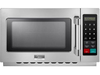 Midea 1 2 cu  ft  1400 Watt Commercial Counter Top Microwave Oven in Stainless Steel Interior and Exterior  Programmable  Silver