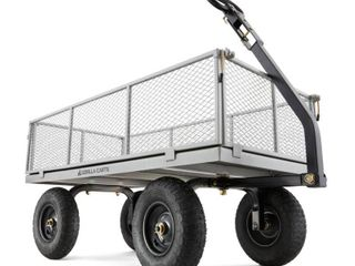 Gorilla Carts Heavy Duty Steel Utility Cart with Removable Sides and Pneumatic Tires Capacity BOX HEAVIlY DAMAGED  NOT FUllY INSPECTED OUTSIDE BOX