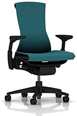 Herman Miller Embody Ergonomic Office Chair   Fully Adjustable Arms and Carpet Casters   Peacock Rhythm  DAMAGED ON BACK