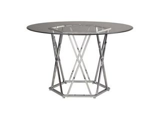 Madanere Round Dining Room Table Chrome   Signature Design by Ashley