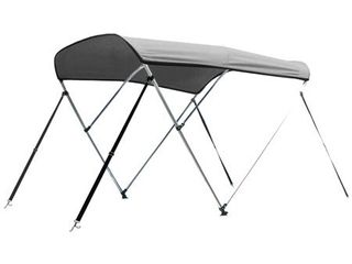 leader Accessories Grey 3 Bow Bimini Boat Tops Includes Hardwares with 1 Inch Aluminum Frame