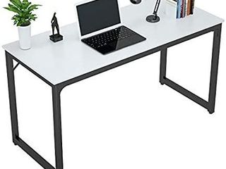 Foxemart Computer Desk 47 Inch Modern Sturdy Office Desk 47  PC laptop Notebook Study Writing Table for Home Workstations  White