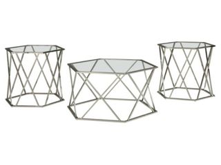 3pc Madanere Coffee and End Table Set Chrome Finish   Signature Design by Ashley