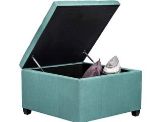 Homebeez OF0050 Chest and Footrest IJ Classic Square Seat Storage Ottomans  Blue