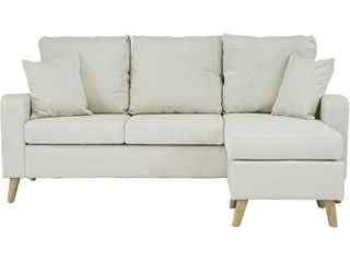 Mid Century Modern linen Fabric Small Space Sectional Sofa with Reversible Chaise  Beige