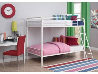 DHP Twin over Twin Metal Bunk Bed Frame  white