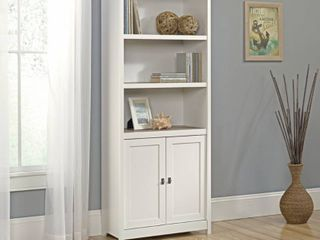 Sauder Cottage Road library with Doors  Soft White Finish