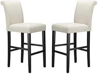 Amazon Brand  Ravenna Home Modern Bar Stool with Back  44 25 Inch Height  Beige  Set of 2