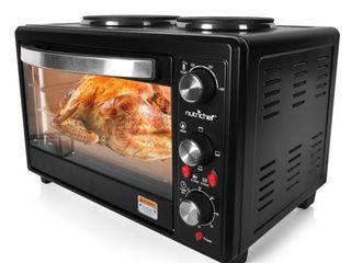 Updated Premium Version Multifunction Grill Oven  Dual Hot Plate  Toaster Oven w Rotisserie  Grill Griddle Top  Countertop Convection Oven  w Wire Grill Rack  Baking Tray  Skewers  Tray Handles