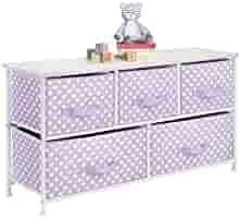 mDesign 5 Drawer Dresser Storage Unit   Sturdy Steel Frame  Wood Top and Easy Pull Fabric Bins in 2 Sizes   Multi Bin Organizer for Child Kids Bedroom or Nursery   light Purple with White Polka Dots