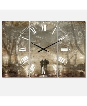 Couple Walking in Night lights Cottage 3 Panels large Wall Clock   36 in  wide x 28 in  high   3 panels  Retail 139 99