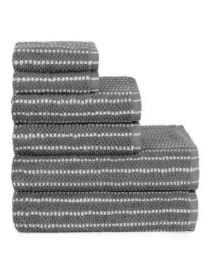 Textured Stripe 6 Piece Bath Towel Set