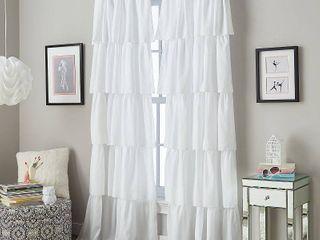Flounced Ruffle Rod Pocket Curtain Panel