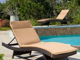Salem Outdoor Chaise lounge Cushion  Set of 2  by Christopher Knight Home   Retail 174 49