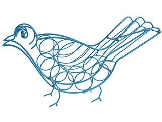 Metal Bird Wine Rack Blue 35 x7 5 x18