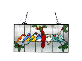 Gathering Birds Window Panel 24 5x12 5