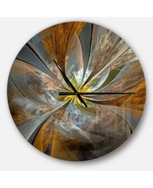 Designart  Symmetrical Yellow Fractal Flower  Oversized Wall Clock  Retail 149 49