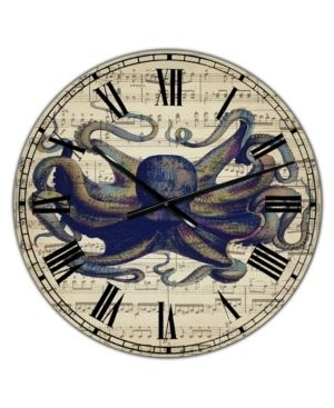 Designart  Octopus Music Score I  Oversized Nautical   Coastal Wall Clock  Retail 119 99