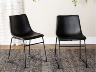Carbon loft Prusiner Faux leather Dining Chair  Set of 2  Retail 170 99