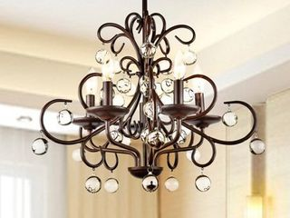 Wrought Iron and Crystal 5 light Chandelier  Retail 149 99