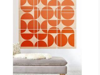 Deny Designs Mid Century Modern Orange Wood Wall Mural 9 Squares  Retail 186 99