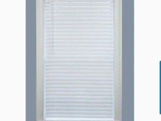 Project Source light Filtering 1 in Slat Width 35 in x 64 in Cordless White Vinyl light Filtering Mini Blinds